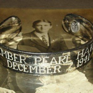 Antiqued Sterling Silver Men's Pearl Harbor Cuff B